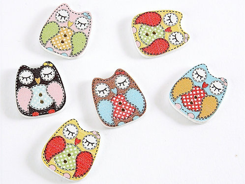 Sleeping Owls Buttons - 6 Pack (colours vary)