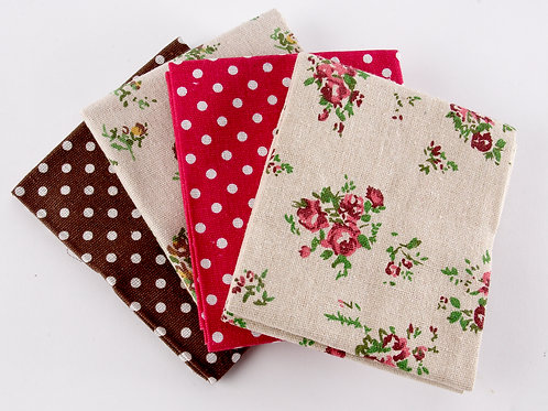 Floral Red Canvas 4 Fat Quarter Pack