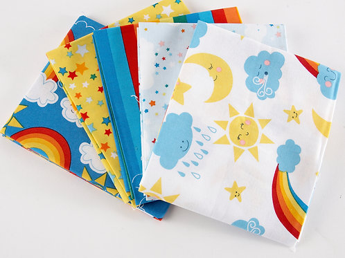 Happy Clouds and Rainbows 5 Fat Quarter Pack