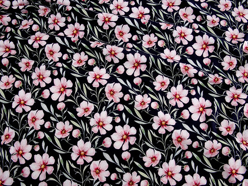 Organic Jersey - Pink Flowers on Dark Navy