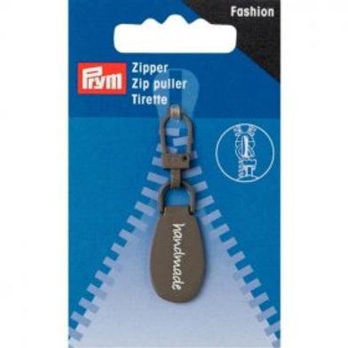 Prym Fashion Zip Puller - 'Handmade' Grey