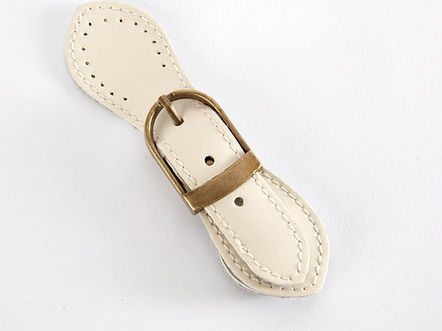 Leather Buckle Magnetic Snap - ivory