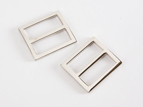 """1"""" silver tone premium rectangle sliders pack of 2"""