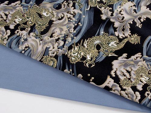 Perfect Pair - Japanese Dragons + Delph Blue (0.5m pieces)