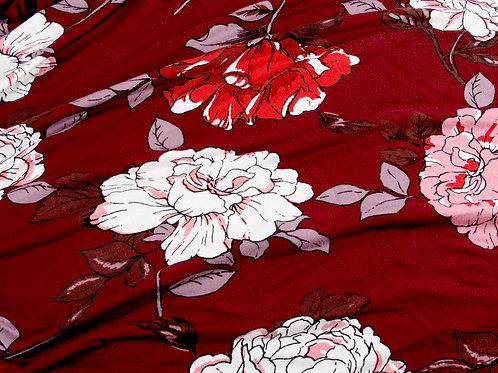 Burgundy Flowers Large Print Viscose Jersey - 1m piece