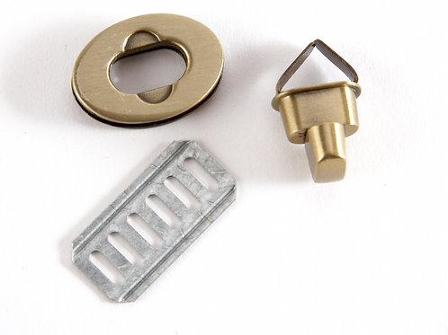 Oval Metal Clasp Twist Turn Lock - Bronze