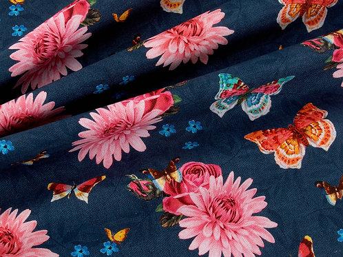 Deluxe Soft Blue Floral Butteries Print Canvas (price per half metre)