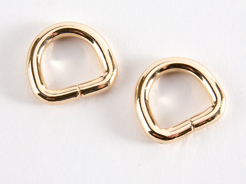 "1/2"" D rings - Bright Gold Pack of 2"