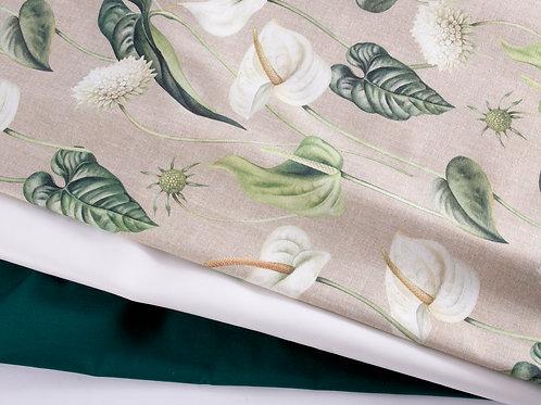 White Lily Fabric Bundle (Canvas, Faux Leather, Cotton)