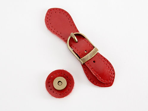 Leather Buckle Magnetic Snap - red