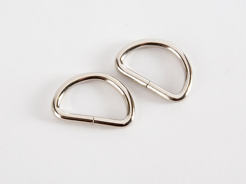 "1"" Silver Tone D Rings - Pack of 2"