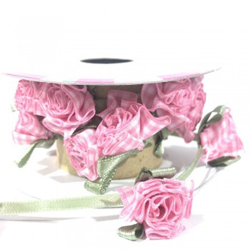 Pink Gingham Flower Ribbon - 0.9m Roll