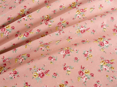 Ditsy Roses Cord - Pink (price per half metre)