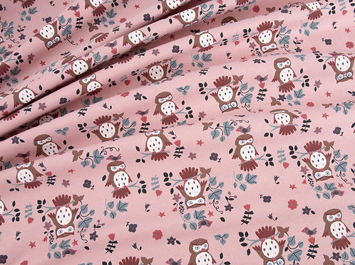 Cute Owl Print Rose Pink Cotton Jersey (price per half metre)