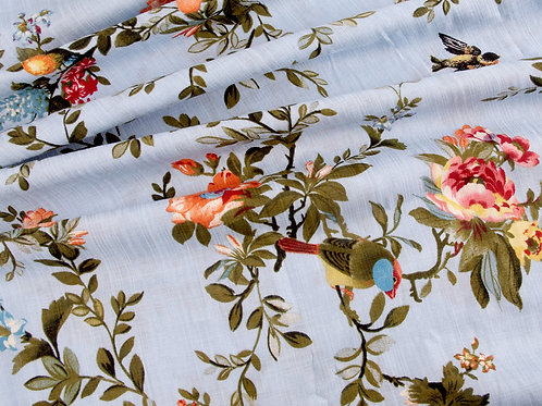 Floral Birds Linen Look Viscose - Sky Blue (price per half metre)