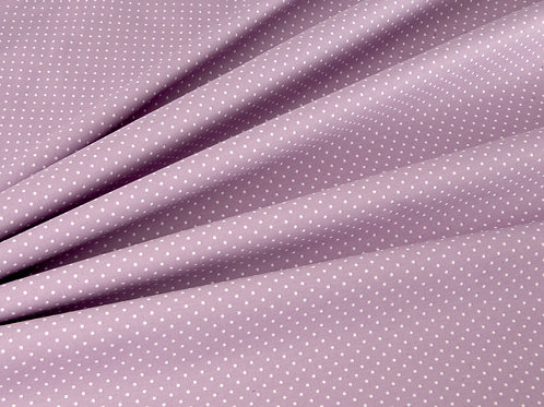 Lilac and White Pin Spot Cotton Poplin (price per half metre)