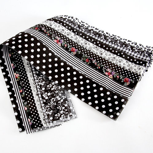 Fabric Strips - Black and White 9pcs