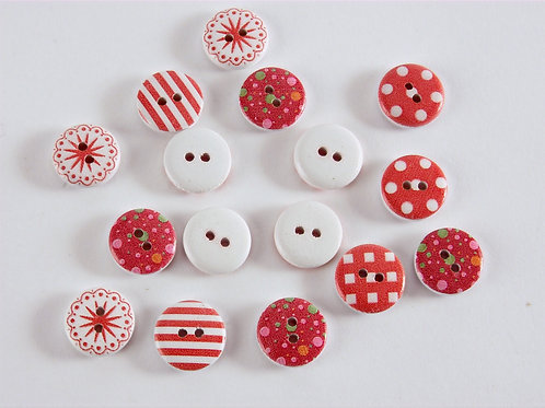 Red Button Collection - 16 Buttons