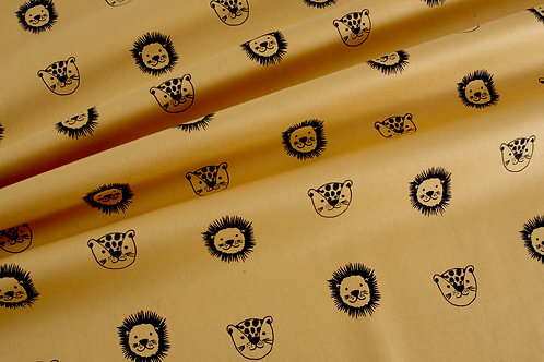 Safari Friends - Muatard Lion and Leopards Organic Poplin (price per half metre)