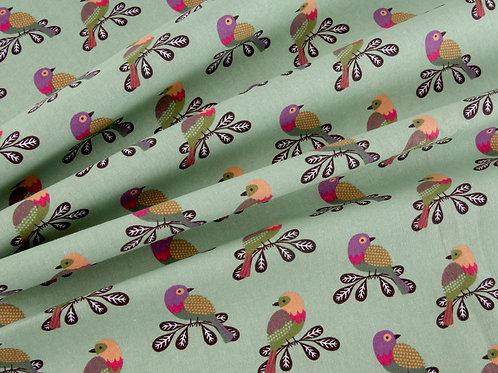 Little Meadow Birds - Green Birds (price per half metre)