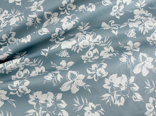 Floral Satin Stretch Cotton - Duck Egg Blue (price per half metre)