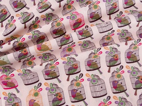 Little Meadow Birds - Pink Bird Cage (price per half metre)