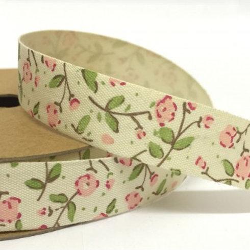 Cream Floral Ribbon - 3m Roll