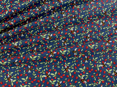 Bees and Strawberries Cotton Poplin - Navy Blue (price per half metre)