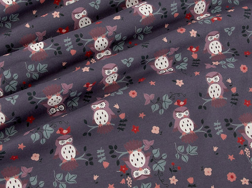 Cute Owl Print Steel Blue Cotton Jersey (price per half metre)
