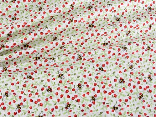 Bees and Strawberries Cotton Poplin - Ivory (price per half metre)