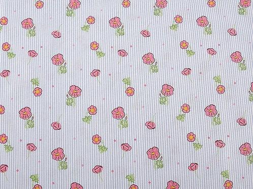 A Cottage Garden - Poppy Stripe Fabric (price per half metre)