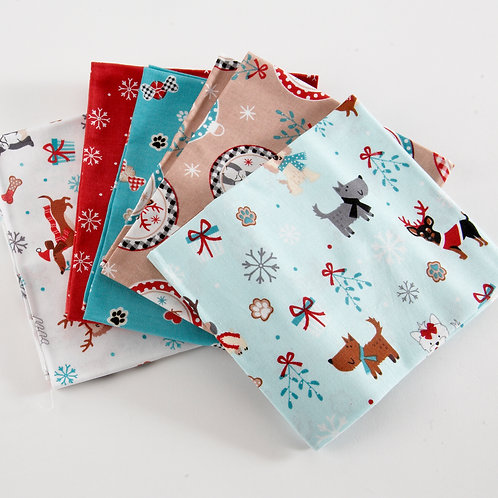 Freddie and Friends Christmas Dogs 5 Fat Quarter Pack