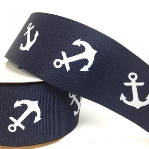 Navy Anchor Ribbon - 2.7m Roll