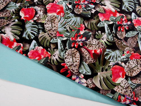 Perfect Pair - Tropical Leaves Canvas + Bright Turquoise Cotton  (0.5m pieces)