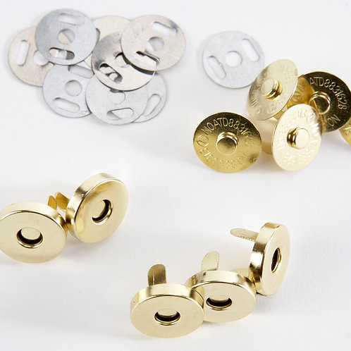 18mm Gold Tone Magnetic Snaps - Pack of 5