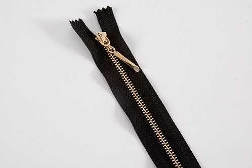 Metal Zip with Decorative Pull - Black with Straight Pull
