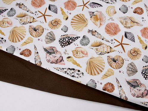 Perfect Pair - Off White Sea Shells Canvas + Brown Cotton (0.5m pieces)