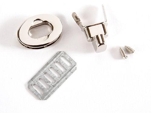 Oval Metal Clasp Twist Turn Lock - Silver