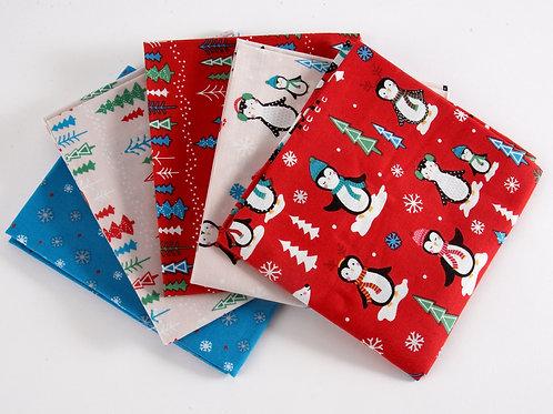 Novelty Penguin Christmas - 5 Fat Quarter Pack