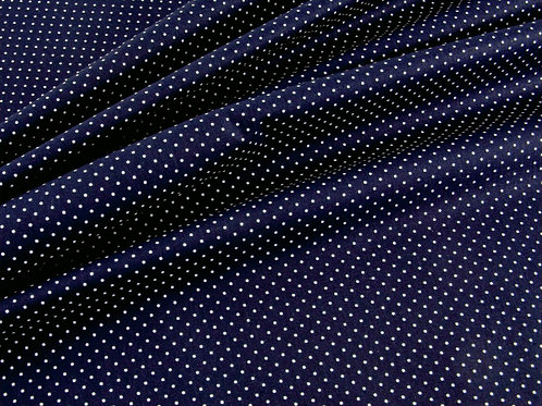 Navy and White Pin Spot Cotton Poplin