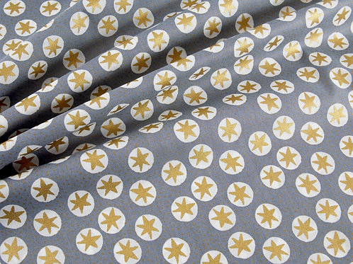 Christmas Golden Stars and Spots - Steel Blue (price per half metre)