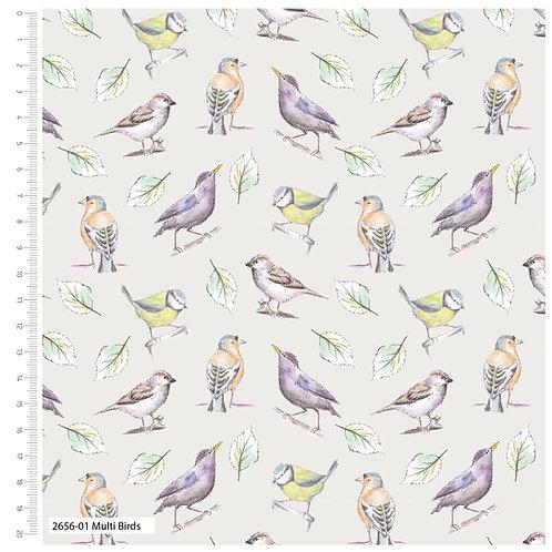 Debbie Shore 'Garden Birds' - Multi Birds (price per half metre)