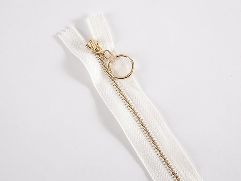 Metal Zip with Decorative Pull - White with Circle Pull