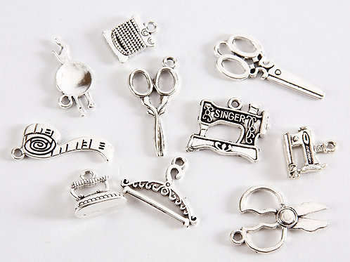 Sewing Theme Charms - 10 various