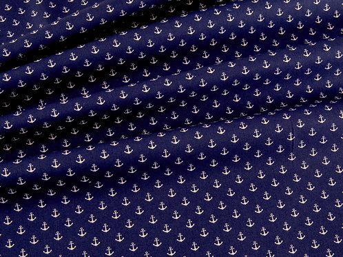 Royal Blue Anchors Cotton Poplin (price per half metre)