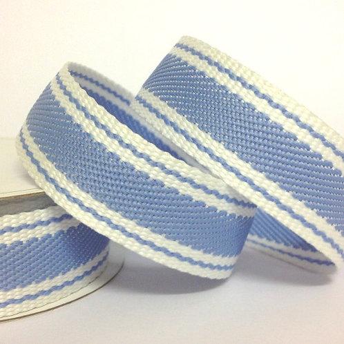 Twill Stripe Light Blue Ribbon - 3m Roll