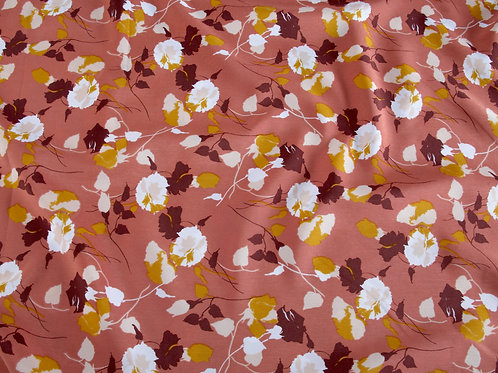 Rose Pink Polyester Leaves Print