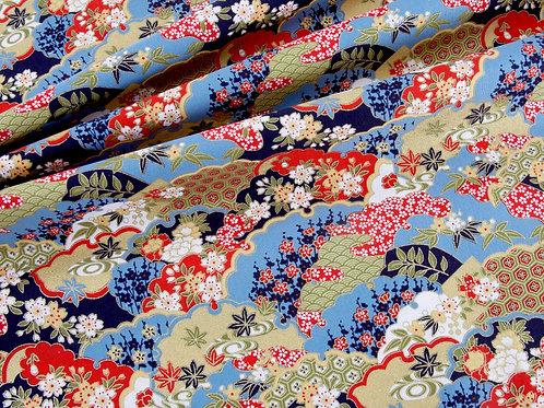Japanese Metallic Cotton - Blue and Red Print (price per half metre)