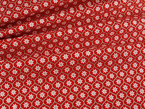 Retro Christmas Glitter Geometric Star - Red (price per half metre)