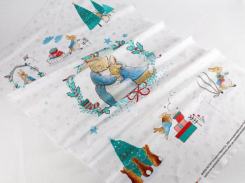 Beatrix Potter - Peter Rabbit Christmas Cotton Fabric Panel